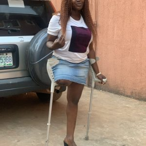 Amputee Doris: Crutches routine! Sexy outside video!